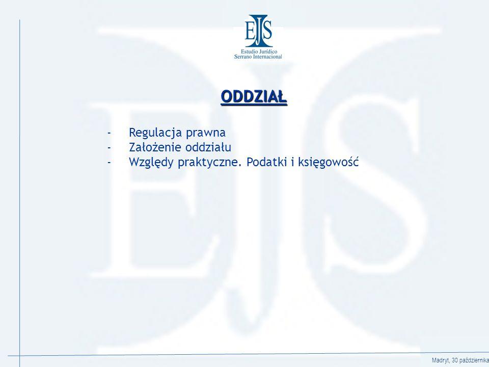 Madryt, 30 października 2008 ODDZIAŁ - Regulacja prawna - Założenie oddziału - Względy praktyczne.