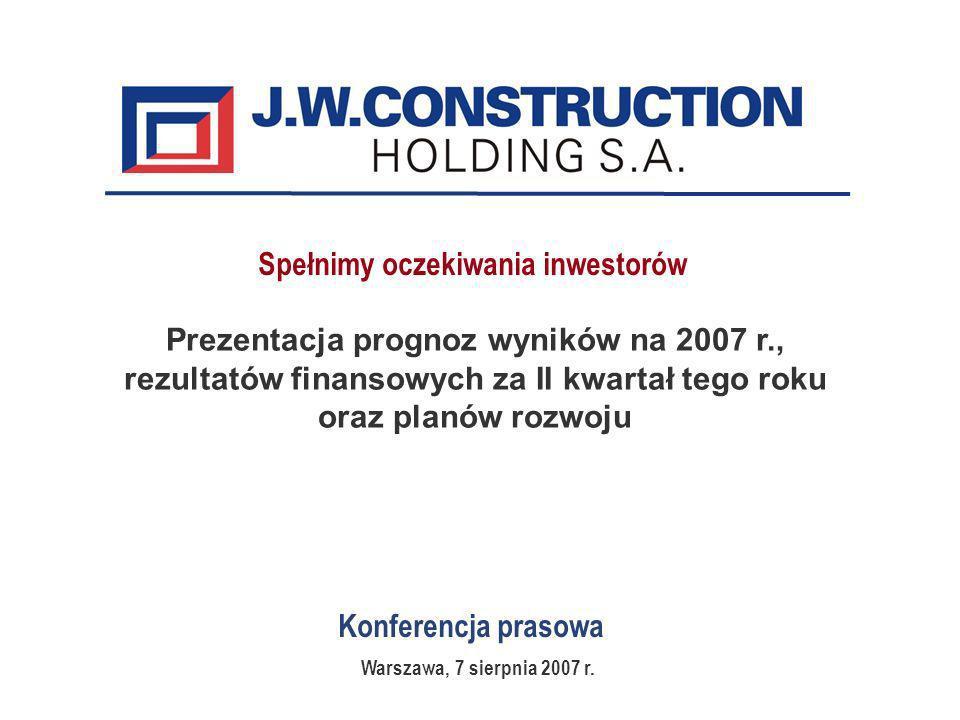 Konferencja prasowa Prezentacja prognoz wyników na 2007 r., rezultatów finansowych za II kwartał tego roku oraz planów rozwoju Warszawa, 7 sierpnia 2007 r.