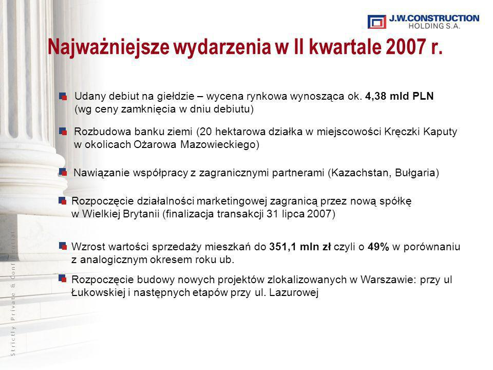 S t r i c t l y P r i v a t e & C o n f i d e n t i a l Najważniejsze wydarzenia w II kwartale 2007 r.