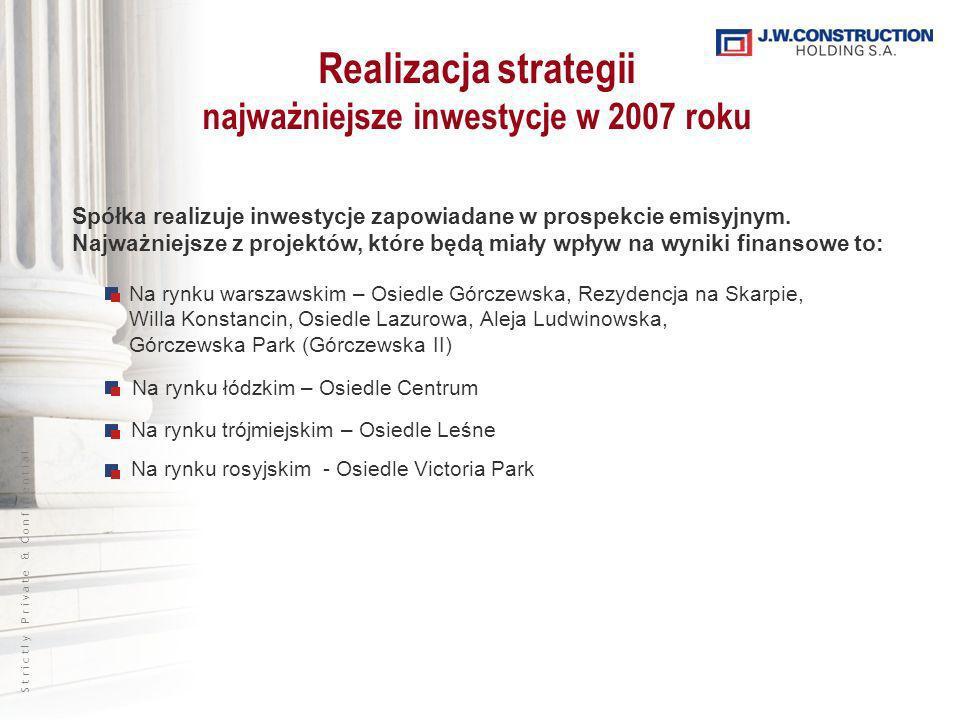 S t r i c t l y P r i v a t e & C o n f i d e n t i a l Realizacja strategii najważniejsze inwestycje w 2007 roku Spółka realizuje inwestycje zapowiadane w prospekcie emisyjnym.