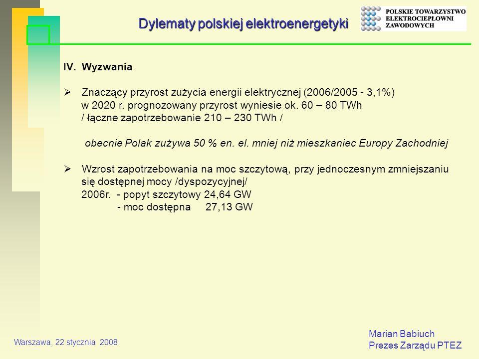 Marian Babiuch Prezes Zarządu PTEZ Warszawa, 22 stycznia 2008 IV.Wyzwania Znaczący przyrost zużycia energii elektrycznej (2006/2005 - 3,1%) w 2020 r.