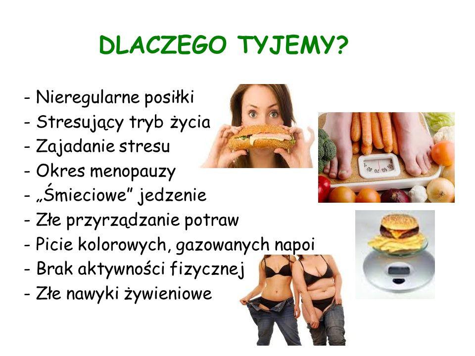 DLACZEGO TYJEMY? - Nieregularne posiłki - Stresujący tryb życia - Zajadanie stresu - Okres menopauzy - Śmieciowe jedzenie - Złe przyrządzanie potraw -