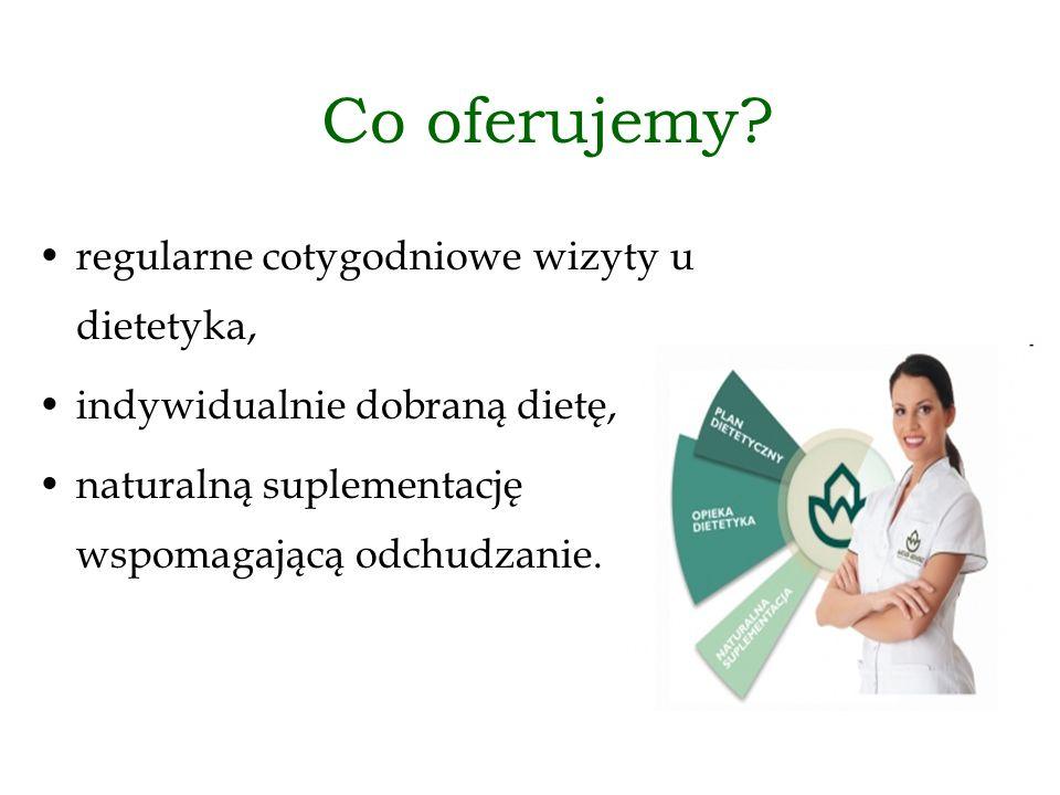 Co oferujemy? regularne cotygodniowe wizyty u dietetyka, indywidualnie dobraną dietę, naturalną suplementację wspomagającą odchudzanie.