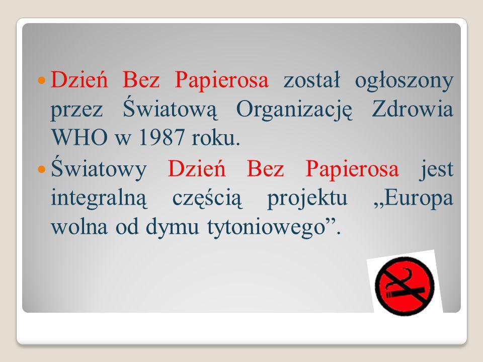 Dzień Bez Papierosa został ogłoszony przez Światową Organizację Zdrowia WHO w 1987 roku. Światowy Dzień Bez Papierosa jest integralną częścią projektu