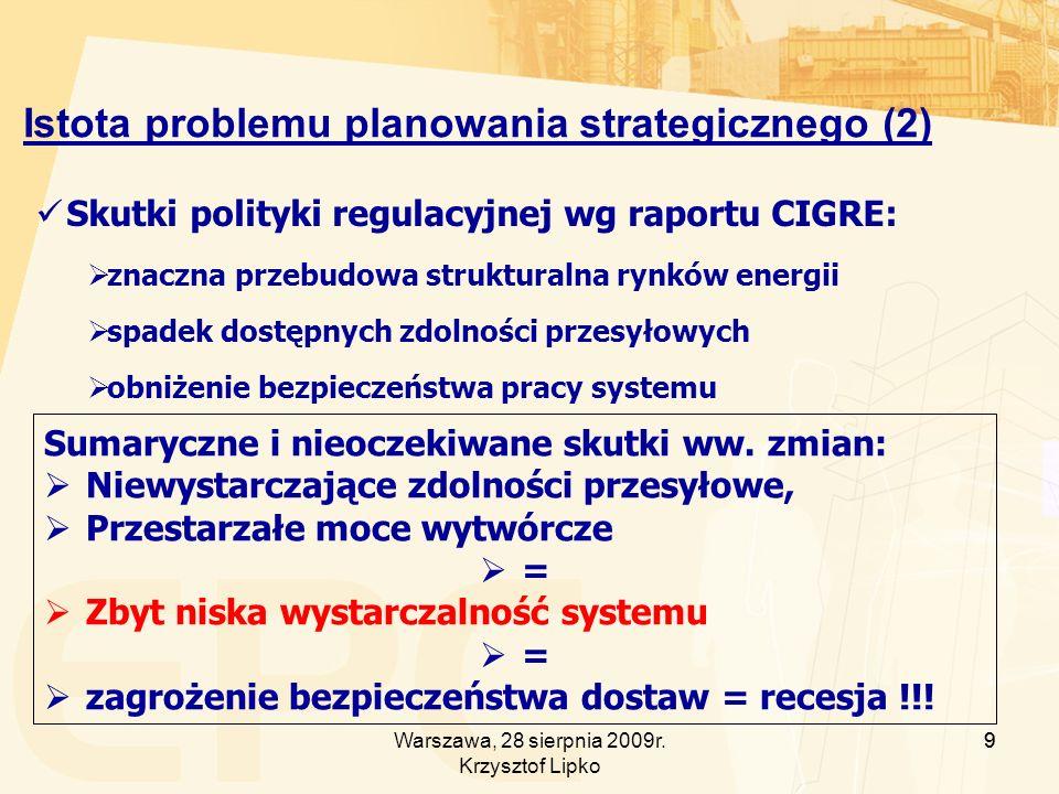 9 Istota problemu planowania strategicznego (2) Skutki polityki regulacyjnej wg raportu CIGRE: znaczna przebudowa strukturalna rynków energii spadek dostępnych zdolności przesyłowych obniżenie bezpieczeństwa pracy systemu Sumaryczne i nieoczekiwane skutki ww.