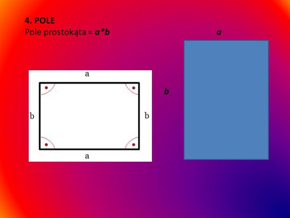 3. KĄTY W prostokącie kąty wynoszą 90 stopni każdy. Suma miar kątów w prostokącie wynosi 360 stopni.