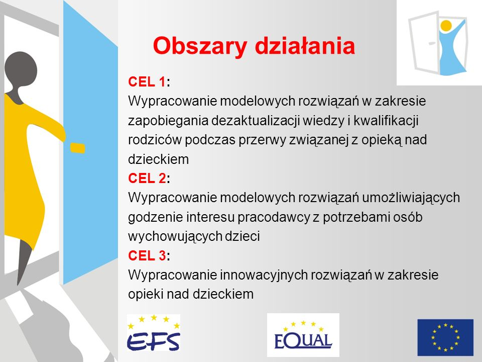 Obszary działania CEL 1: Wypracowanie modelowych rozwiązań w zakresie zapobiegania dezaktualizacji wiedzy i kwalifikacji rodziców podczas przerwy zwią