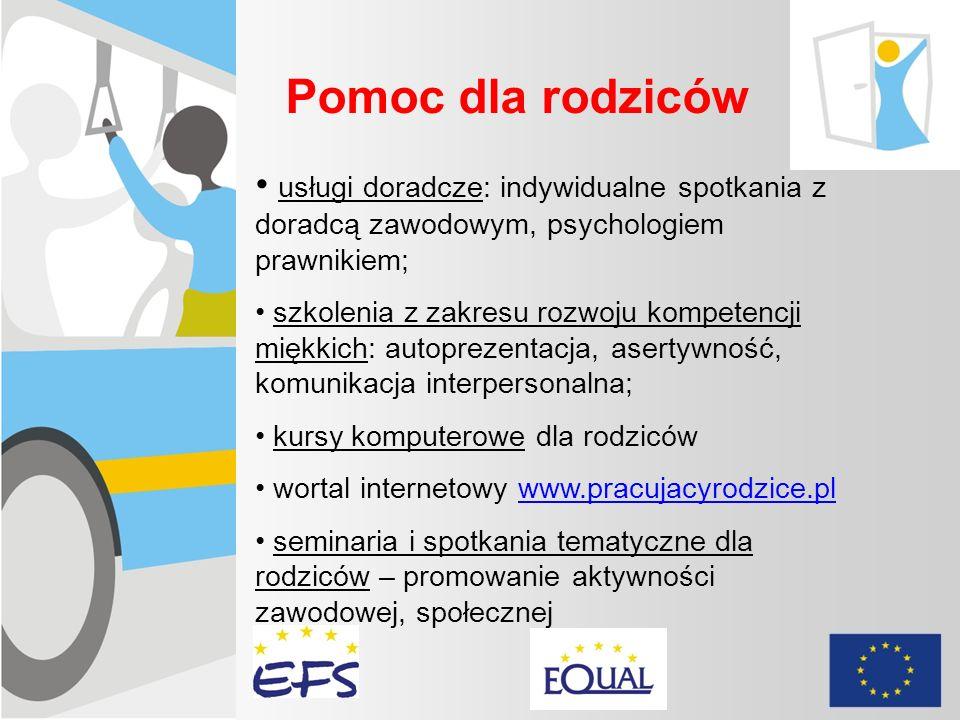 Pomoc dla rodziców usługi doradcze: indywidualne spotkania z doradcą zawodowym, psychologiem prawnikiem; szkolenia z zakresu rozwoju kompetencji miękk