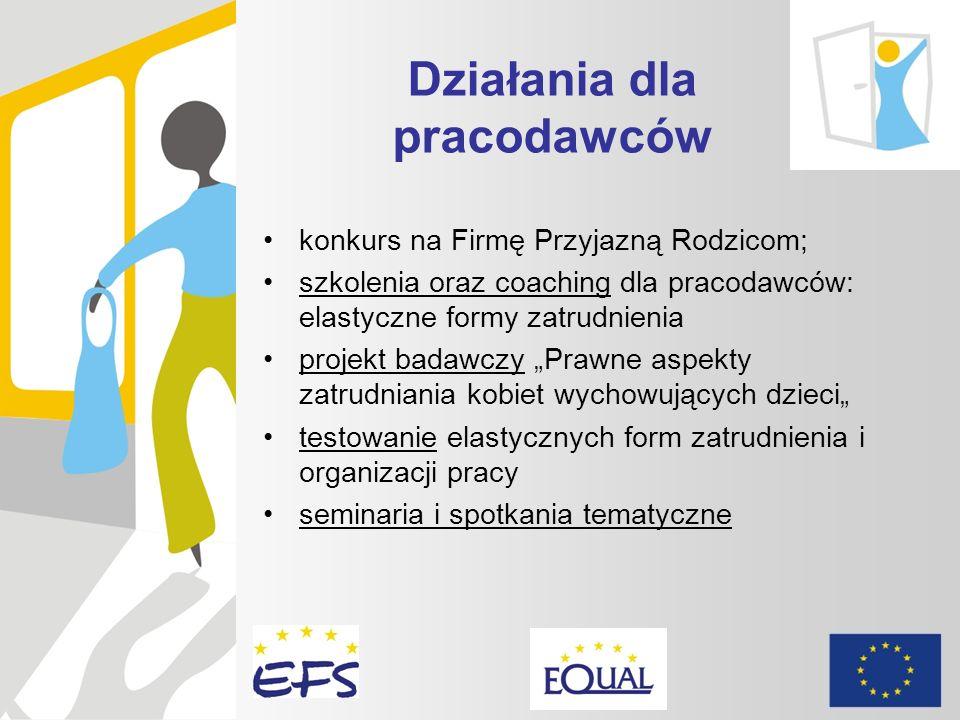 Działania dla pracodawców konkurs na Firmę Przyjazną Rodzicom; szkolenia oraz coaching dla pracodawców: elastyczne formy zatrudnienia projekt badawczy