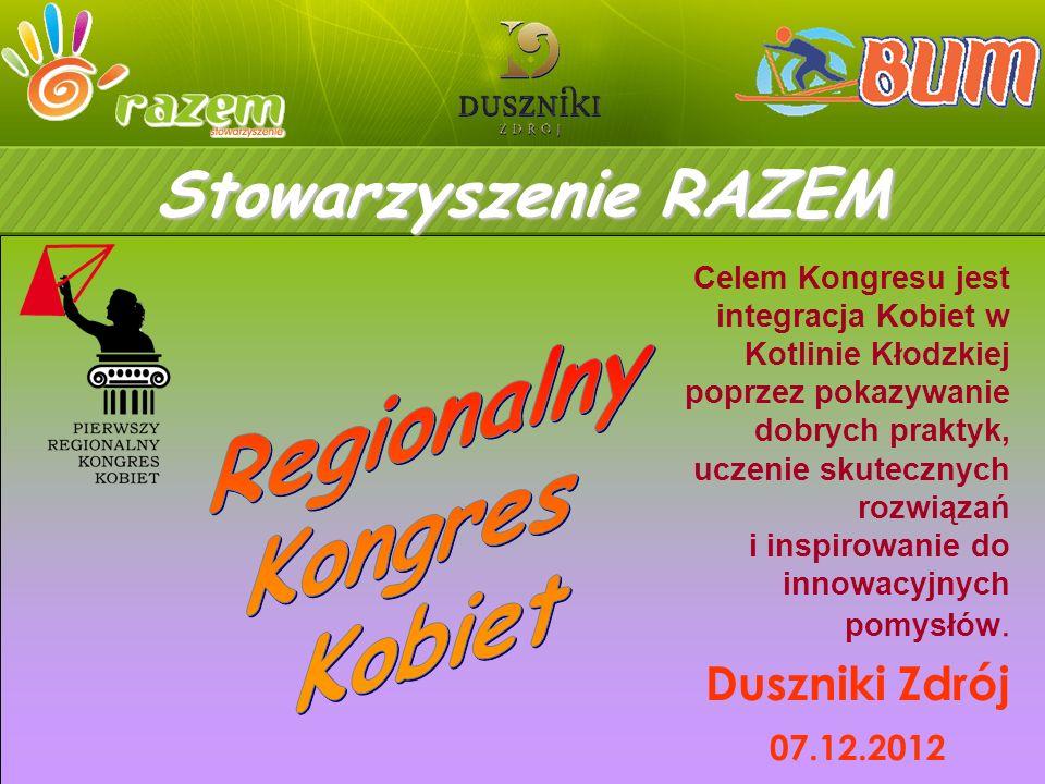 Duszniki Zdrój 07.12.2012 Celem Kongresu jest integracja Kobiet w Kotlinie Kłodzkiej poprzez pokazywanie dobrych praktyk, uczenie skutecznych rozwiązań i inspirowanie do innowacyjnych pomysłów.