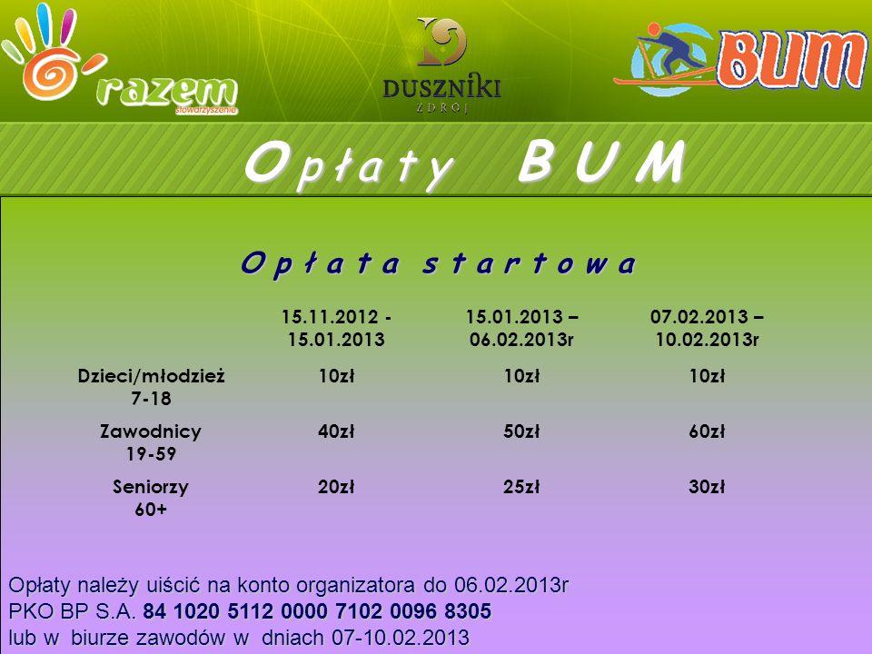 O p ł a t y B B U M Opłaty należy uiścić na konto organizatora do 06.02.2013r PKO BP S.A.