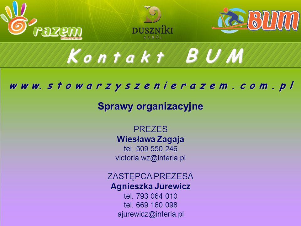 K o n t a k t B U M Sprawy organizacyjne PREZES Wiesława Zagaja tel.
