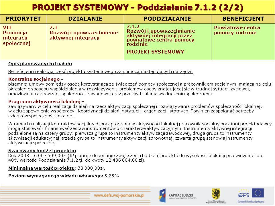 PRIORYTETDZIAŁANIE PODDZIAŁANIEBENEFICJENT VII Promocja integracji społecznej 7.1 Rozwój i upowszechnienie aktywnej integracji 7.1.2 Rozwój i upowszechnianie aktywnej integracji przez powiatowe centra pomocy rodzinie PROJEKT SYSTEMOWY Powiatowe centra pomocy rodzinie Opis planowanych działań: Beneficjenci realizują część projektu systemowego za pomocą następujących narzędzi: Kontraktu socjalnego – pisemnej umowy pomiędzy osobą korzystająca ze świadczeń pomocy społecznej a pracownikiem socjalnym, mającą na celu określenie sposobu współdziałania w rozwiązywaniu problemów osoby znajdującej się w trudnej sytuacji życiowej, umożliwienia aktywizacji społeczno - zawodowej oraz przeciwdziałania wykluczeniu społecznemu.