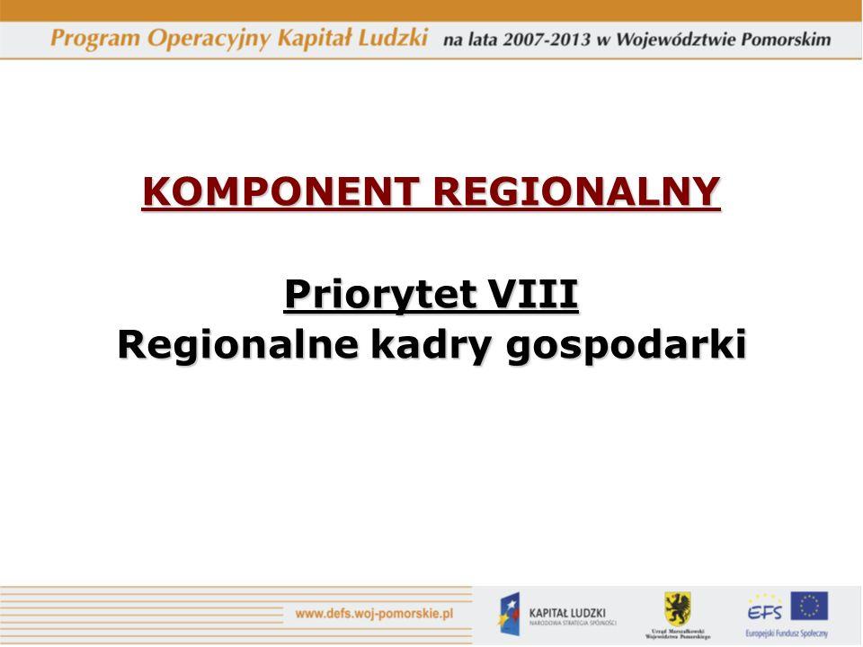 KOMPONENT REGIONALNY Priorytet VIII Regionalne kadry gospodarki