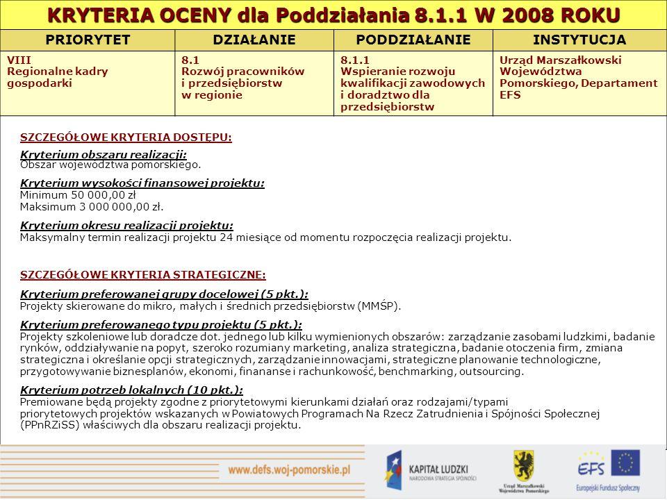 KRYTERIA OCENY dla Poddziałania 8.1.1 W 2008 ROKU PRIORYTETDZIAŁANIEPODDZIAŁANIEINSTYTUCJA VIII Regionalne kadry gospodarki 8.1 Rozwój pracowników i przedsiębiorstw w regionie 8.1.1 Wspieranie rozwoju kwalifikacji zawodowych i doradztwo dla przedsiębiorstw Urząd Marszałkowski Województwa Pomorskiego, Departament EFS SZCZEGÓŁOWE KRYTERIA DOSTĘPU: Kryterium obszaru realizacji: Obszar województwa pomorskiego.