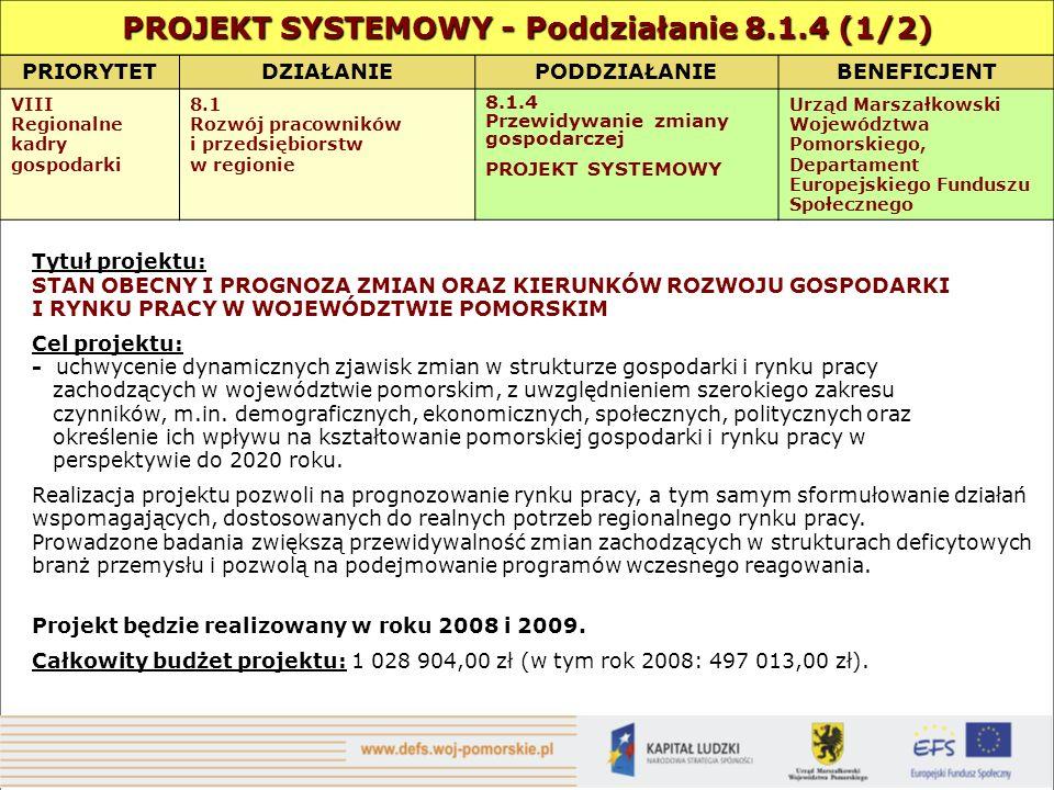 PRIORYTETDZIAŁANIEPODDZIAŁANIEBENEFICJENT VIII Regionalne kadry gospodarki 8.1 Rozwój pracowników i przedsiębiorstw w regionie 8.1.4 Przewidywanie zmiany gospodarczej PROJEKT SYSTEMOWY Urząd Marszałkowski Województwa Pomorskiego, Departament Europejskiego Funduszu Społecznego Tytuł projektu: STAN OBECNY I PROGNOZA ZMIAN ORAZ KIERUNKÓW ROZWOJU GOSPODARKI I RYNKU PRACY W WOJEWÓDZTWIE POMORSKIM Cel projektu: - uchwycenie dynamicznych zjawisk zmian w strukturze gospodarki i rynku pracy zachodzących w województwie pomorskim, z uwzględnieniem szerokiego zakresu czynników, m.in.