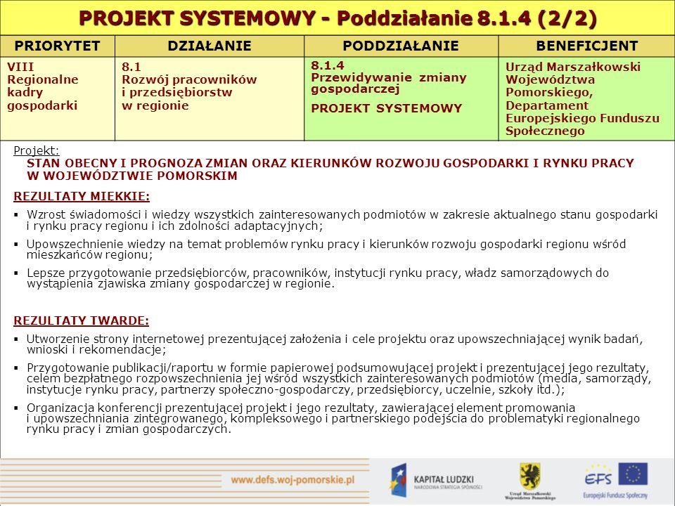 PRIORYTETDZIAŁANIEPODDZIAŁANIEBENEFICJENT VIII Regionalne kadry gospodarki 8.1 Rozwój pracowników i przedsiębiorstw w regionie 8.1.4 Przewidywanie zmiany gospodarczej PROJEKT SYSTEMOWY Urząd Marszałkowski Województwa Pomorskiego, Departament Europejskiego Funduszu Społecznego Projekt: STAN OBECNY I PROGNOZA ZMIAN ORAZ KIERUNKÓW ROZWOJU GOSPODARKI I RYNKU PRACY W WOJEWÓDZTWIE POMORSKIM REZULTATY MIĘKKIE: Wzrost świadomości i wiedzy wszystkich zainteresowanych podmiotów w zakresie aktualnego stanu gospodarki i rynku pracy regionu i ich zdolności adaptacyjnych; Upowszechnienie wiedzy na temat problemów rynku pracy i kierunków rozwoju gospodarki regionu wśród mieszkańców regionu; Lepsze przygotowanie przedsiębiorców, pracowników, instytucji rynku pracy, władz samorządowych do wystąpienia zjawiska zmiany gospodarczej w regionie.