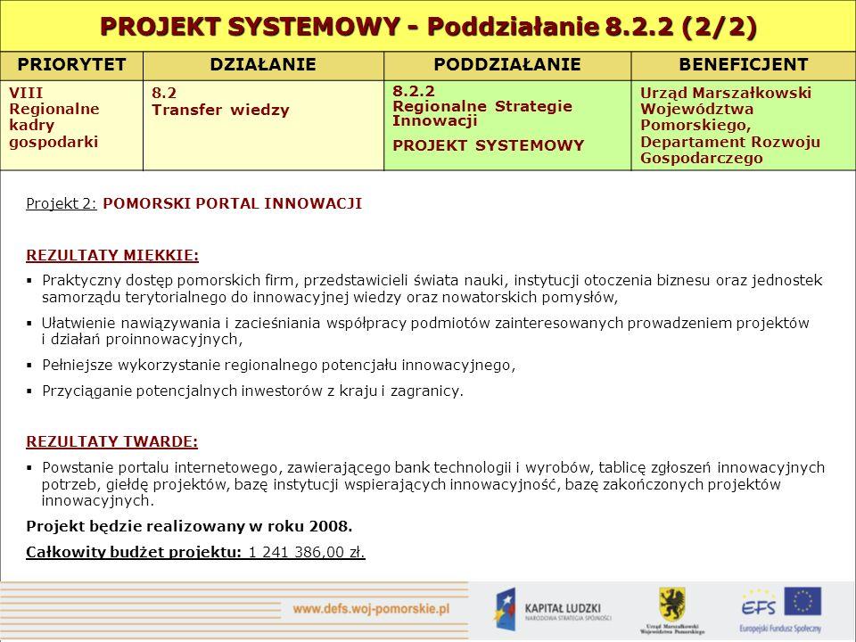 PRIORYTETDZIAŁANIEPODDZIAŁANIEBENEFICJENT VIII Regionalne kadry gospodarki 8.2 Transfer wiedzy 8.2.2 Regionalne Strategie Innowacji PROJEKT SYSTEMOWY Urząd Marszałkowski Województwa Pomorskiego, Departament Rozwoju Gospodarczego Projekt 2: POMORSKI PORTAL INNOWACJI REZULTATY MIĘKKIE: Praktyczny dostęp pomorskich firm, przedstawicieli świata nauki, instytucji otoczenia biznesu oraz jednostek samorządu terytorialnego do innowacyjnej wiedzy oraz nowatorskich pomysłów, Ułatwienie nawiązywania i zacieśniania współpracy podmiotów zainteresowanych prowadzeniem projektów i działań proinnowacyjnych, Pełniejsze wykorzystanie regionalnego potencjału innowacyjnego, Przyciąganie potencjalnych inwestorów z kraju i zagranicy.