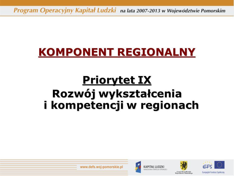 KOMPONENT REGIONALNY Priorytet IX Rozwój wykształcenia i kompetencji w regionach