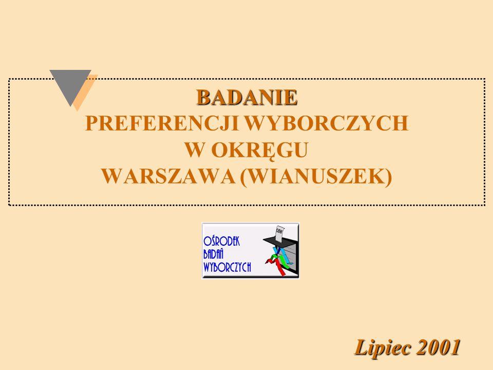 BADANIE BADANIE PREFERENCJI WYBORCZYCH W OKRĘGU WARSZAWA (WIANUSZEK) Lipiec 2001