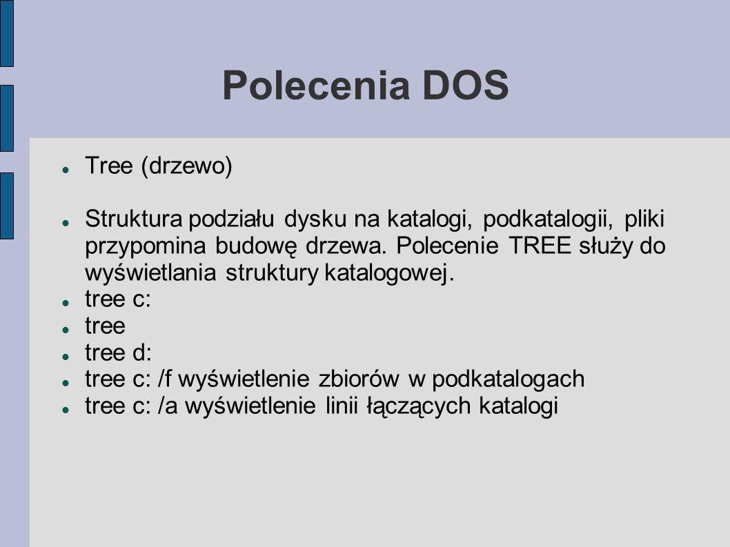 Polecenia DOS CD (chdir). Zmiana bieżącego katalogu. cd nazwa cd dos cd. cd.. cd\ cd windows