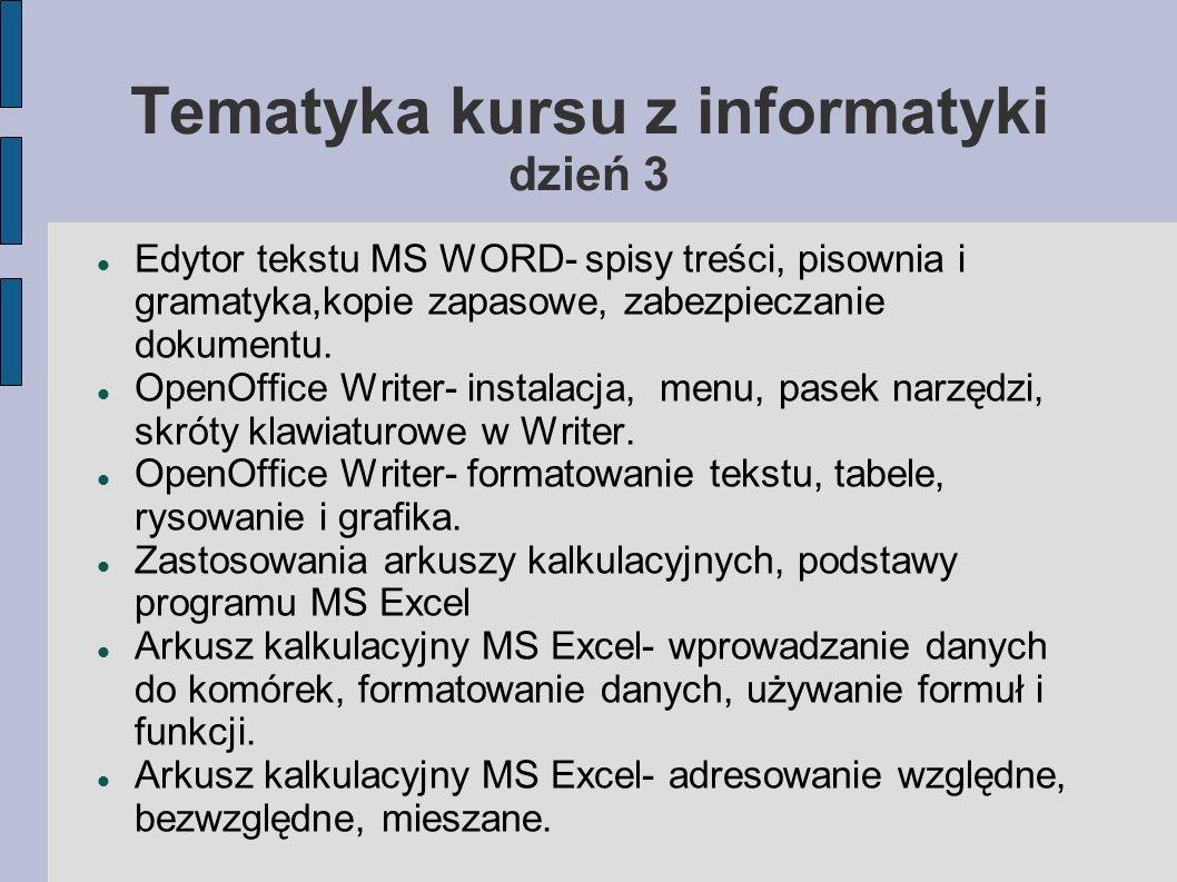 Tematyka kursu z informatyki dzień 3 Edytor tekstu MS WORD- spisy treści, pisownia i gramatyka,kopie zapasowe, zabezpieczanie dokumentu. OpenOffice Wr