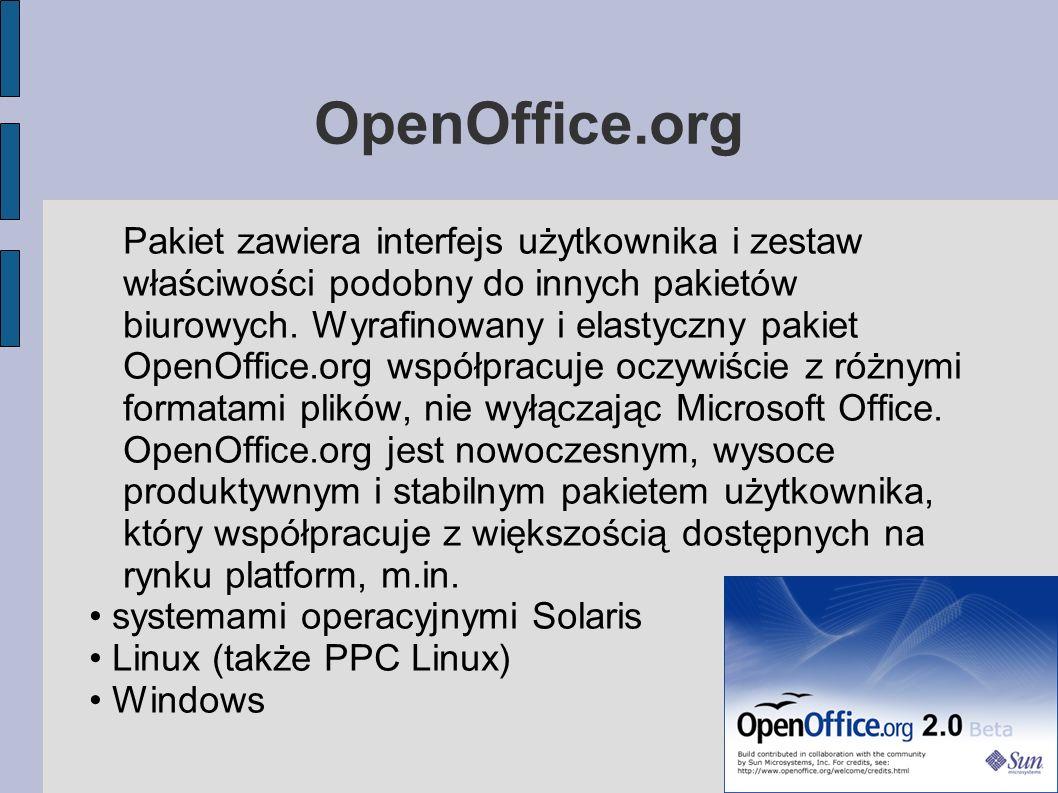 OpenOffice.org Pakiet zawiera interfejs użytkownika i zestaw właściwości podobny do innych pakietów biurowych. Wyrafinowany i elastyczny pakiet OpenOf