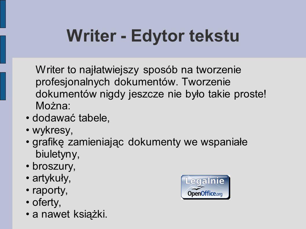Writer - Edytor tekstu Writer to najłatwiejszy sposób na tworzenie profesjonalnych dokumentów. Tworzenie dokumentów nigdy jeszcze nie było takie prost