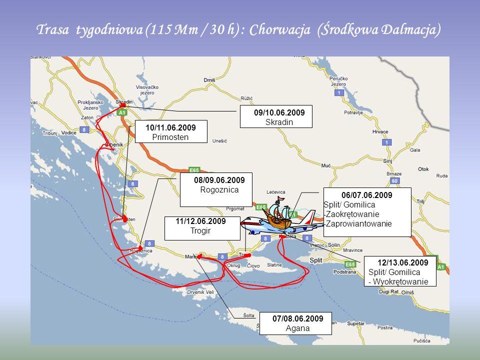 Trasa tygodniowa (115 Mm / 30 h) : Chorwacja (Środkowa Dalmacja) 06/07.06.2009 Split/ Gomilica -Zaokrętowanie -Zaprowiantowanie 07/08.06.2009 Agana 08