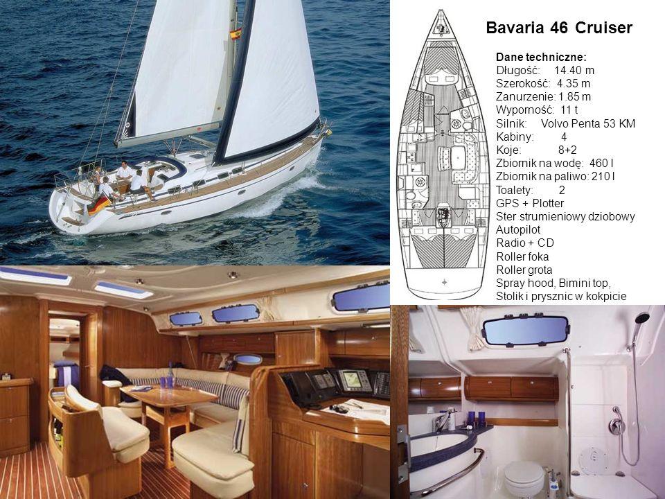 CruiserBavaria 46 Dane techniczne: Długość: 14.40 m Szerokość: 4.35 m Zanurzenie: 1.85 m Wyporność: 11 t Silnik: Volvo Penta 53 KM Kabiny: 4 Koje: 8+2