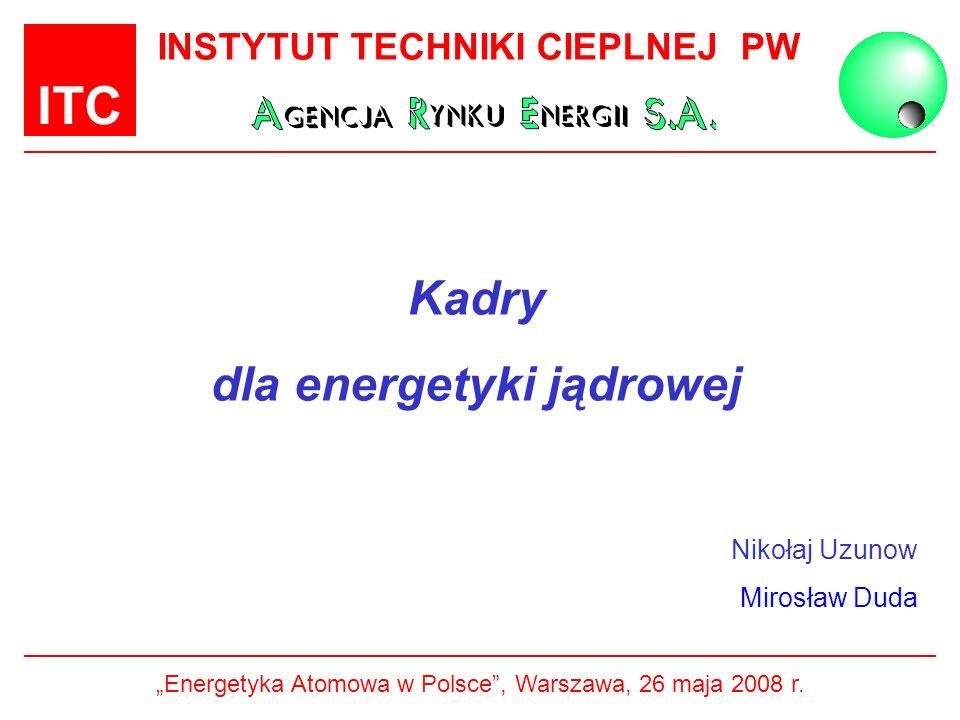 ITC INSTYTUT TECHNIKI CIEPLNEJ PW Kadry dla energetyki jądrowej Nikołaj Uzunow Mirosław Duda Energetyka Atomowa w Polsce, Warszawa, 26 maja 2008 r.