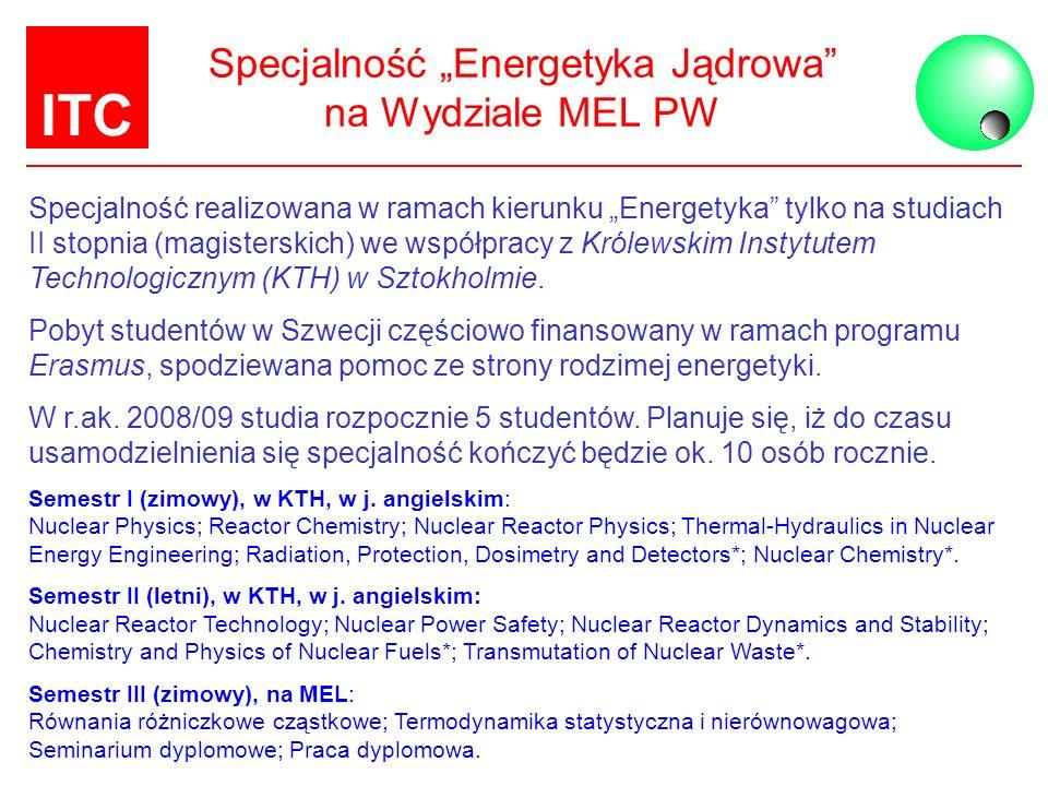 ITC Specjalność Energetyka Jądrowa na Wydziale MEL PW Specjalność realizowana w ramach kierunku Energetyka tylko na studiach II stopnia (magisterskich