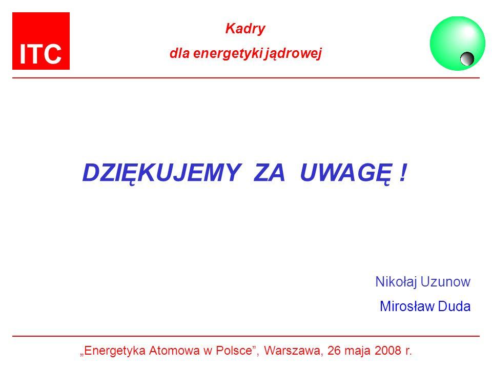ITC Kadry dla energetyki jądrowej DZIĘKUJEMY ZA UWAGĘ ! Nikołaj Uzunow Mirosław Duda Energetyka Atomowa w Polsce, Warszawa, 26 maja 2008 r.