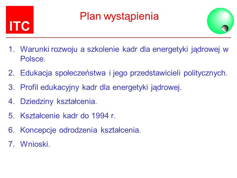 ITC Plan wystąpienia 1.Warunki rozwoju a szkolenie kadr dla energetyki jądrowej w Polsce. 2.Edukacja społeczeństwa i jego przedstawicieli politycznych
