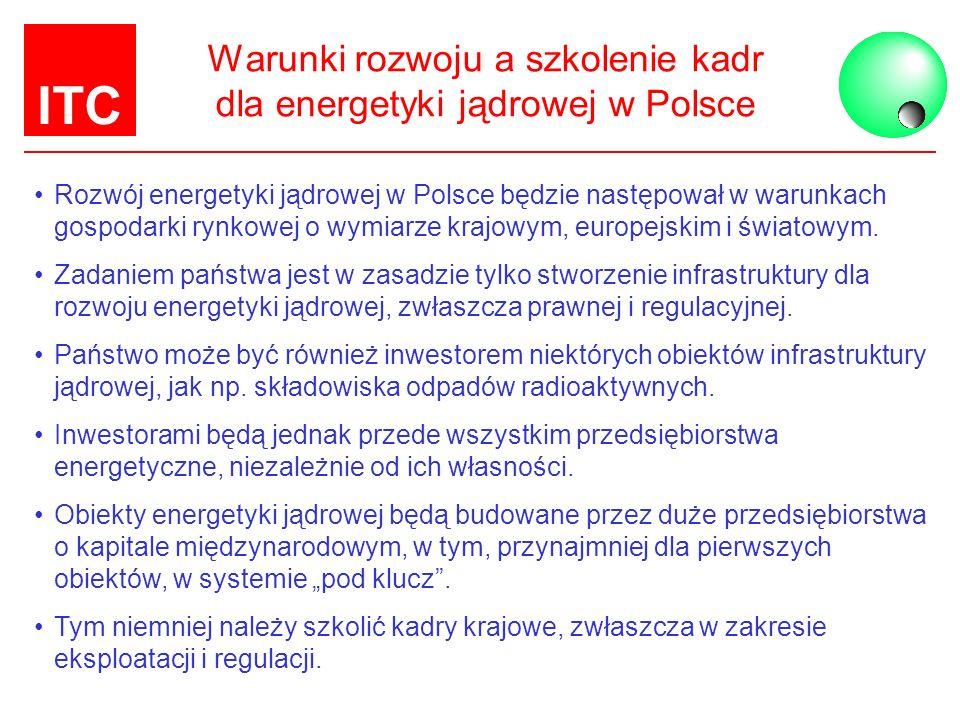 ITC Warunki rozwoju a szkolenie kadr dla energetyki jądrowej w Polsce Rozwój energetyki jądrowej w Polsce będzie następował w warunkach gospodarki ryn