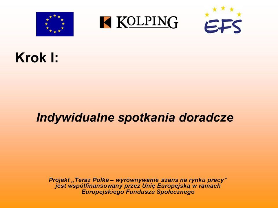 Krok I: Projekt Teraz Polka – wyrównywanie szans na rynku pracy jest współfinansowany przez Unię Europejską w ramach Europejskiego Funduszu Społecznego Indywidualne spotkania doradcze