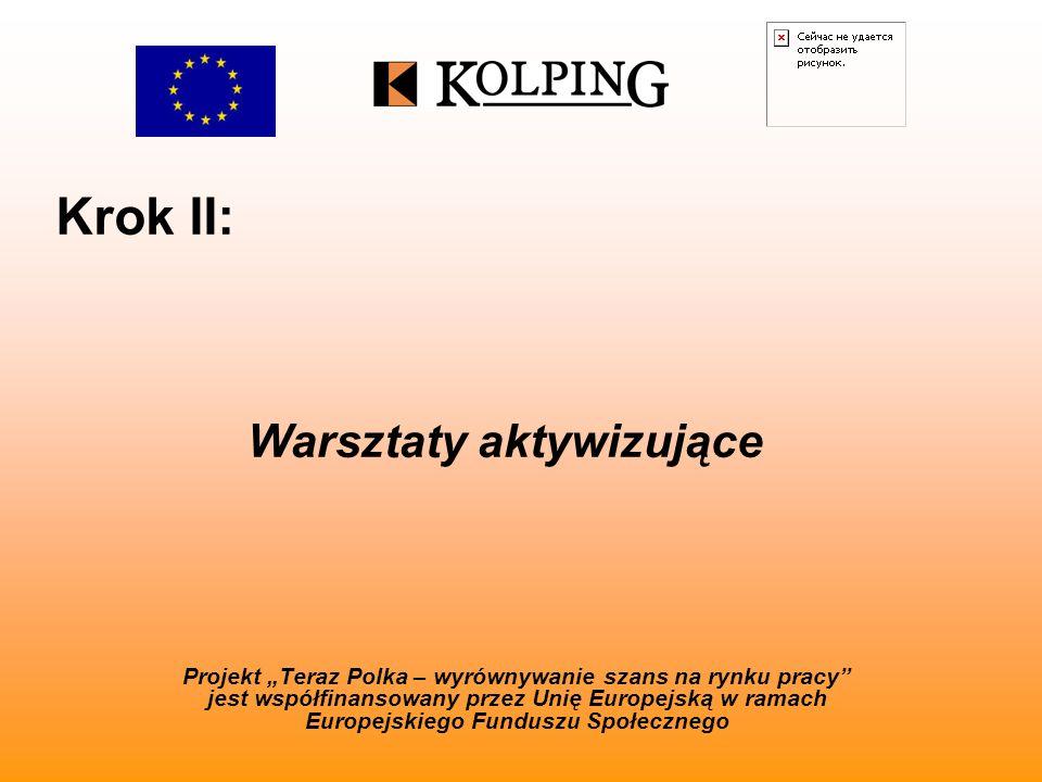 Krok II: Projekt Teraz Polka – wyrównywanie szans na rynku pracy jest współfinansowany przez Unię Europejską w ramach Europejskiego Funduszu Społecznego Warsztaty aktywizujące