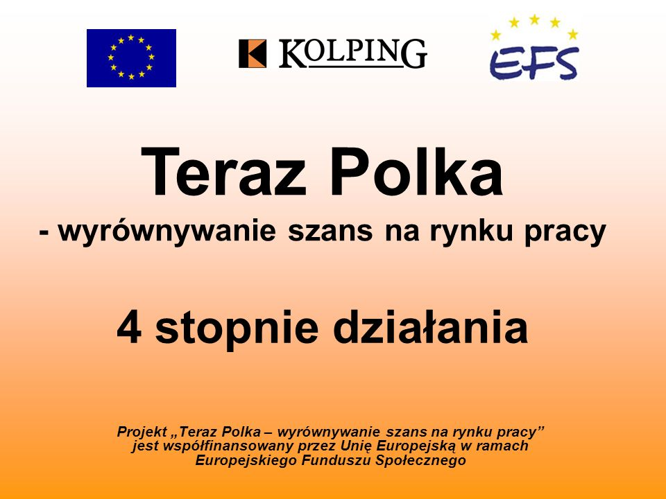 Teraz Polka - wyrównywanie szans na rynku pracy 4 stopnie działania