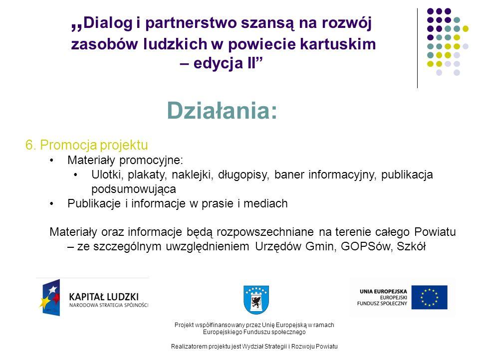 Dialog i partnerstwo szansą na rozwój zasobów ludzkich w powiecie kartuskim – edycja II Projekt współfinansowany przez Unię Europejską w ramach Europejskiego Funduszu społecznego Realizatorem projektu jest Wydział Strategii i Rozwoju Powiatu Działania: 6.