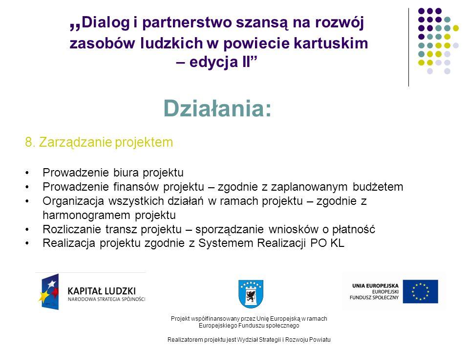 Dialog i partnerstwo szansą na rozwój zasobów ludzkich w powiecie kartuskim – edycja II Projekt współfinansowany przez Unię Europejską w ramach Europejskiego Funduszu społecznego Realizatorem projektu jest Wydział Strategii i Rozwoju Powiatu Działania: 8.