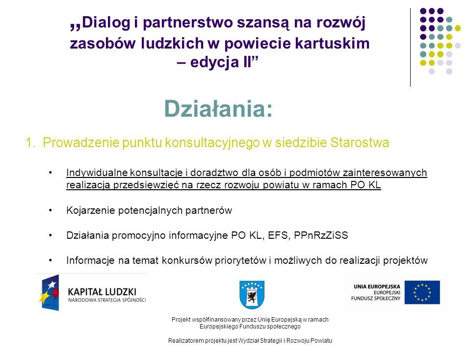 Dialog i partnerstwo szansą na rozwój zasobów ludzkich w powiecie kartuskim – edycja II Projekt współfinansowany przez Unię Europejską w ramach Europejskiego Funduszu społecznego Realizatorem projektu jest Wydział Strategii i Rozwoju Powiatu Działania: 2.