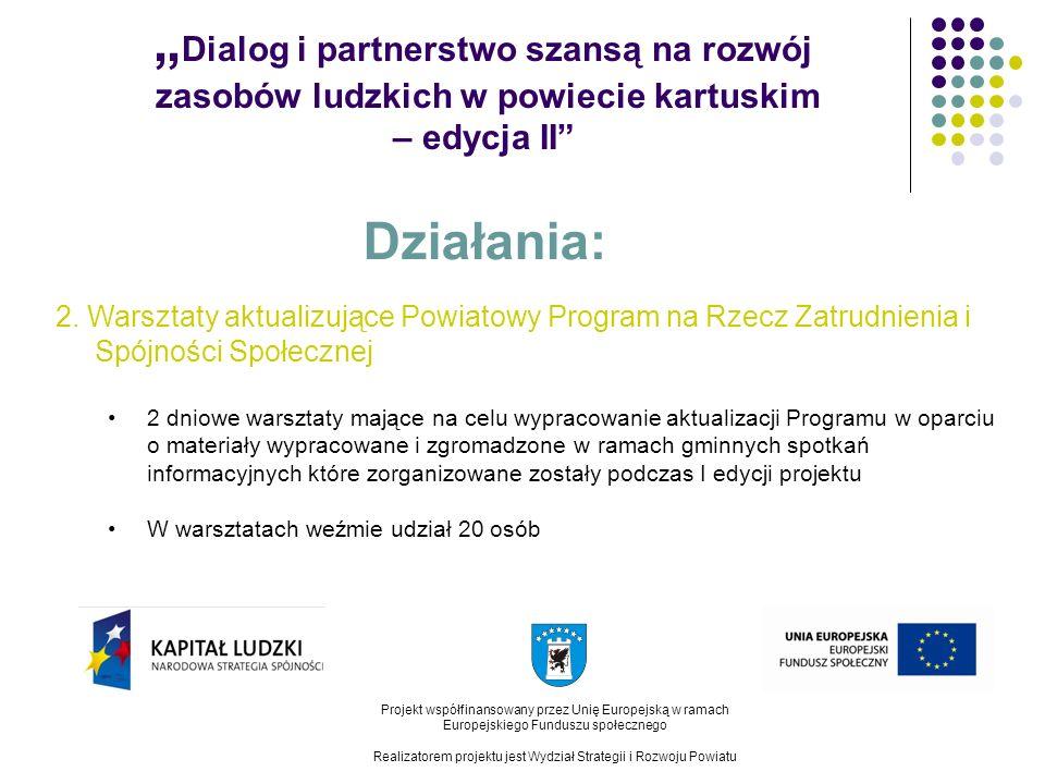 Dialog i partnerstwo szansą na rozwój zasobów ludzkich w powiecie kartuskim – edycja II Projekt współfinansowany przez Unię Europejską w ramach Europejskiego Funduszu społecznego Realizatorem projektu jest Wydział Strategii i Rozwoju Powiatu Działania: 3.