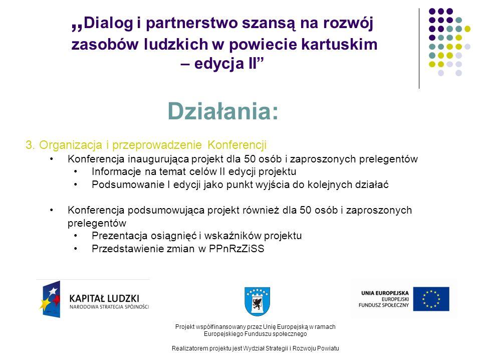 Dialog i partnerstwo szansą na rozwój zasobów ludzkich w powiecie kartuskim – edycja II Projekt współfinansowany przez Unię Europejską w ramach Europejskiego Funduszu społecznego Realizatorem projektu jest Wydział Strategii i Rozwoju Powiatu Działania: 4.