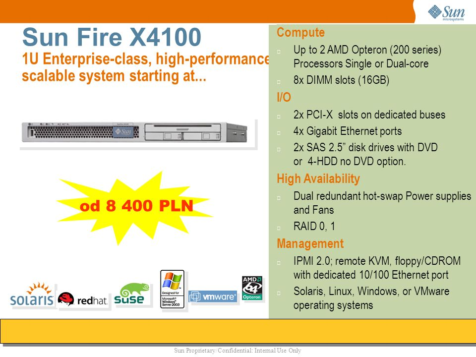 Sun Proprietary/Confidential: Internal Use Only Sun Fire X4100 1U Enterprise-class, high-performance scalable system starting at... Compute Up to 2 AM
