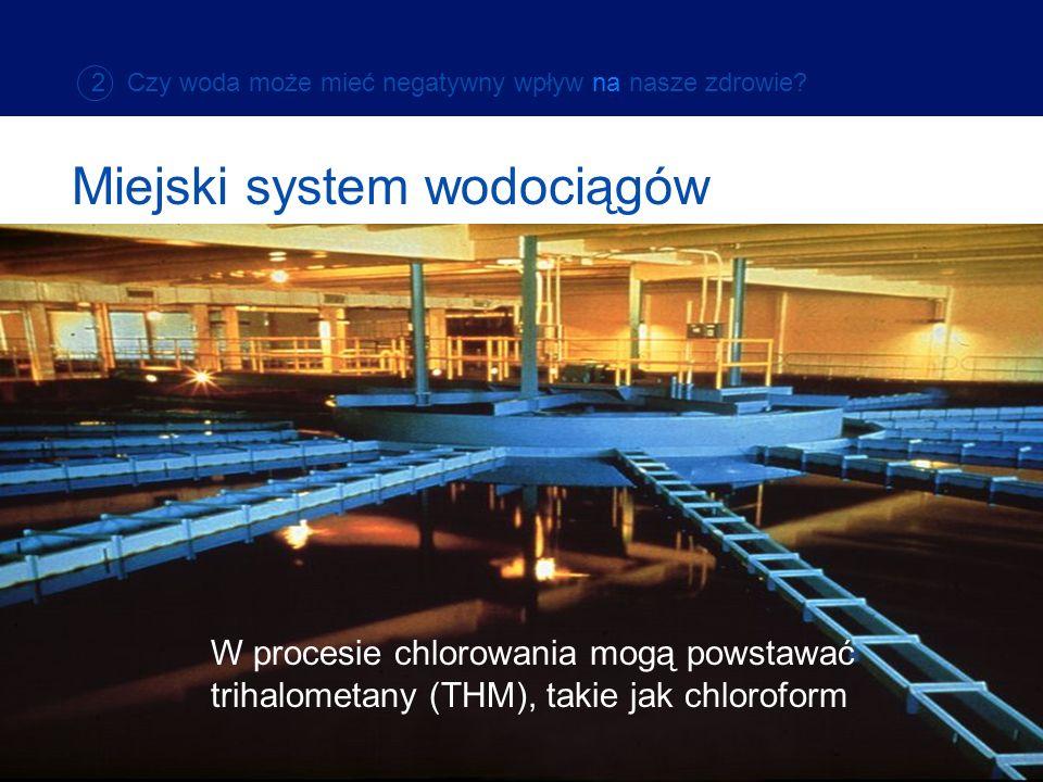 W procesie chlorowania mogą powstawać trihalometany (THM), takie jak chloroform Miejski system wodociągów 2 Czy woda może mieć negatywny wpływ na nasz