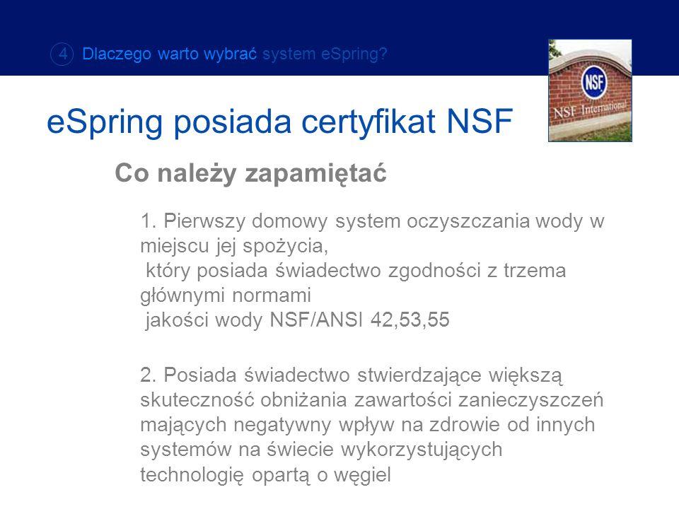 1. Pierwszy domowy system oczyszczania wody w miejscu jej spożycia, który posiada świadectwo zgodności z trzema głównymi normami jakości wody NSF/ANSI