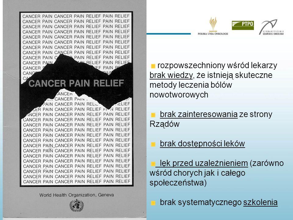 rozpowszechniony wśród lekarzy brak wiedzy, że istnieją skuteczne metody leczenia bólów nowotworowych brak zainteresowania ze strony Rządów brak dostę