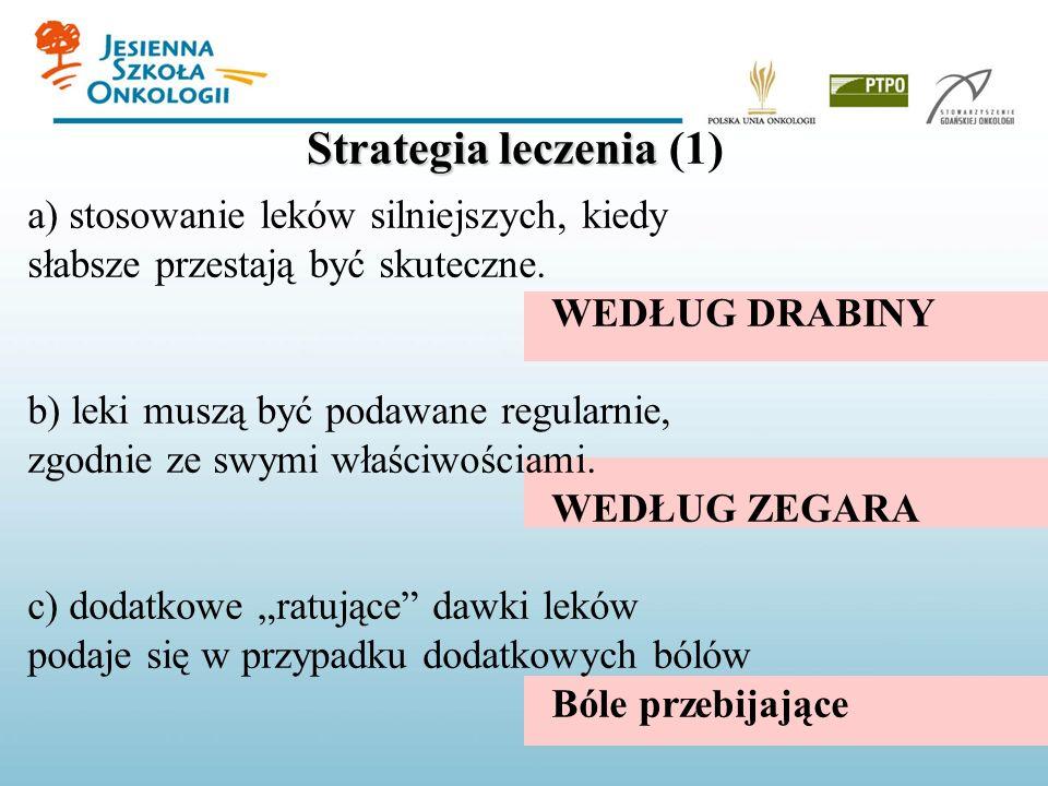 Strategia leczenia Strategia leczenia (1) a) stosowanie leków silniejszych, kiedy słabsze przestają być skuteczne. WEDŁUG DRABINY b) leki muszą być po
