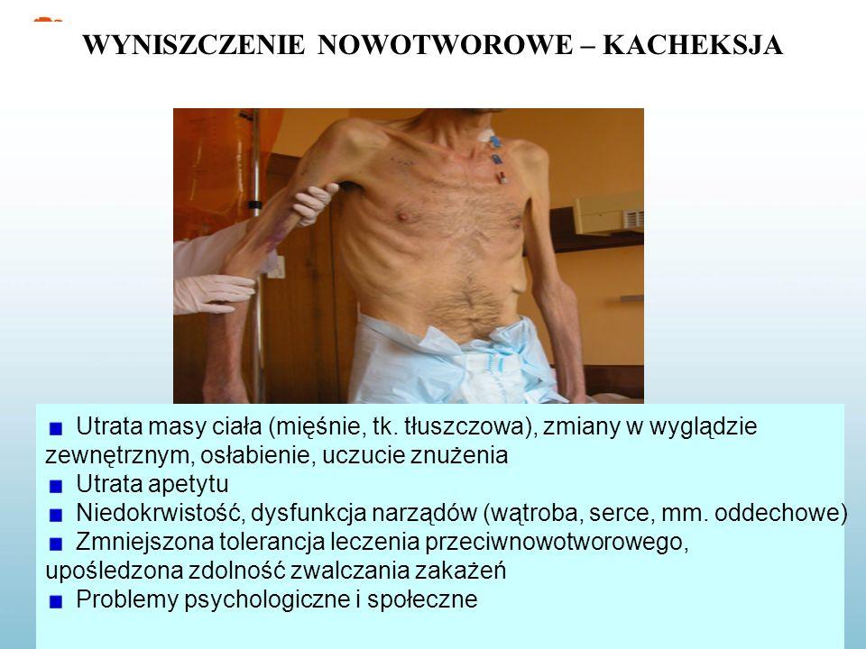 Utrata masy ciała (mięśnie, tk. tłuszczowa), zmiany w wyglądzie zewnętrznym, osłabienie, uczucie znużenia Utrata apetytu Niedokrwistość, dysfunkcja na