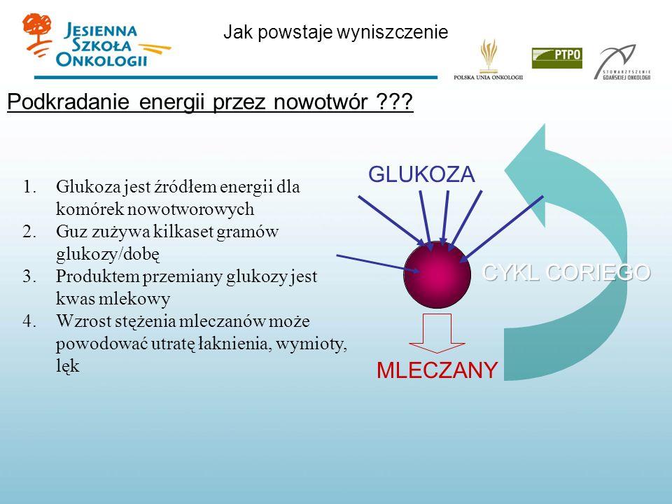 Jak powstaje wyniszczenie Podkradanie energii przez nowotwór ??? 1.Glukoza jest źródłem energii dla komórek nowotworowych 2.Guz zużywa kilkaset gramów